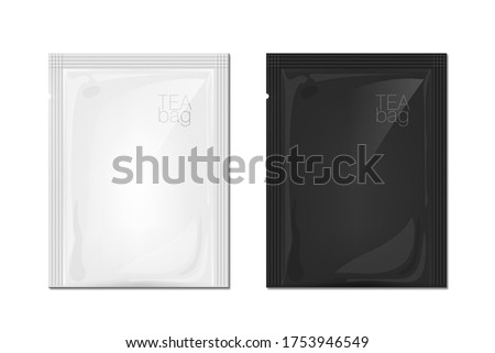 Black And White Bag For Tea Or Other Food. EPS10 Vector Foto d'archivio ©