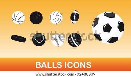 black and white balls icons over orange background. vector