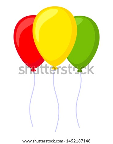 Black and white 3 baloon. Decorative party element. Birthday themed vector illustration for icon, stamp, label, certificate, brochure, gift card, poster, coupon or banner decoration