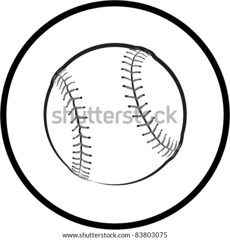 Black and White Baseball Symbol - Vector Illustration