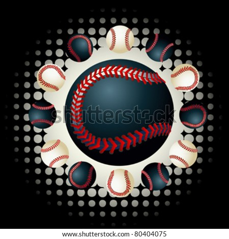 Black and white baseballs on the black and white background with halftone