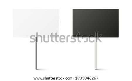Black and white blank boards with place for text, protest sign. Realistic demonstration or advertising banner. Strike action cardboard placard mockup. Vector illustration.