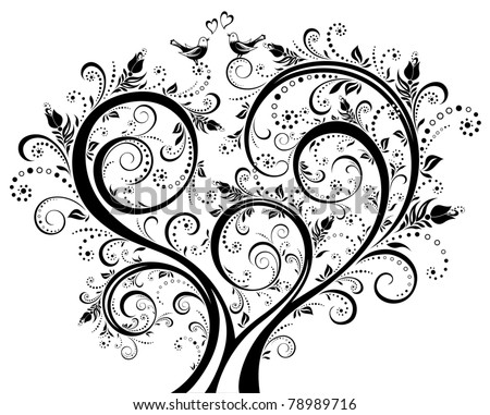 Black-and-white blooming tree, floral background, floral ornament. Vector illustration.