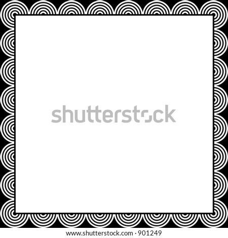 simple black and white borders. stock vector : Black and white
