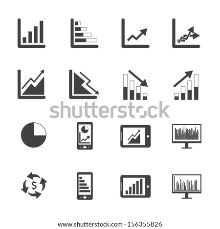 Black and White Business Graph icon set