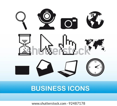 black and white business icons over blue background. vector