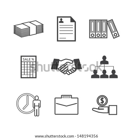 Black and white Business icons set.Vector EPS10