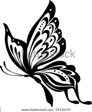 Black And White Butterfly Clipart. stock vector : Black and white
