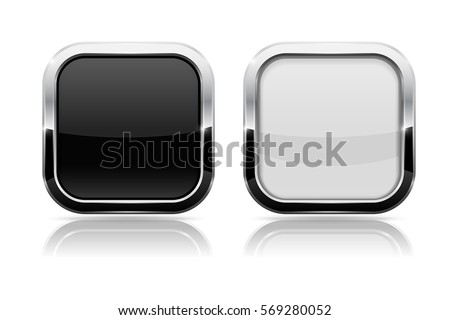 Black and white buttons. Shiny square 3d icons with metal frame. Vector illustration on white background