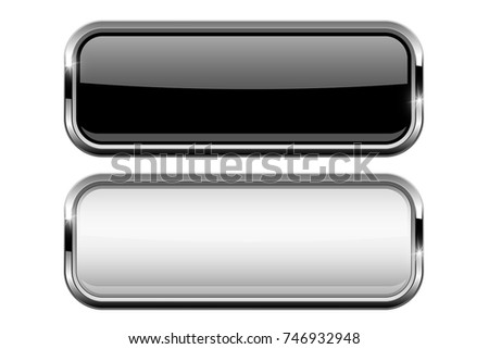 Black and white buttons. Vector 3d illustration isolated on white background