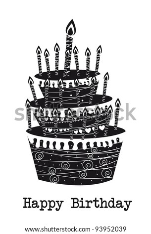 black and white cake, happy birthday. vector illustration - stock vector