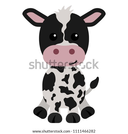 Black and White Calf - Cartoon black and white calf or baby cow