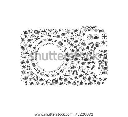 black-and-white camera composed from different travel elements isolated on white background