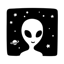 Black and white cartoon alien drawing on space background. Simple hand drawn doodle of extraterrestial life. Cute vector illustration.