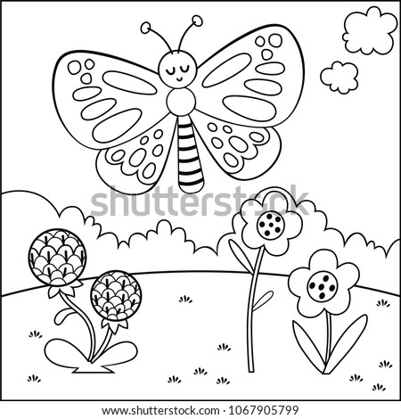 Black and white cartoon butterfly character. (Vector illustration)
