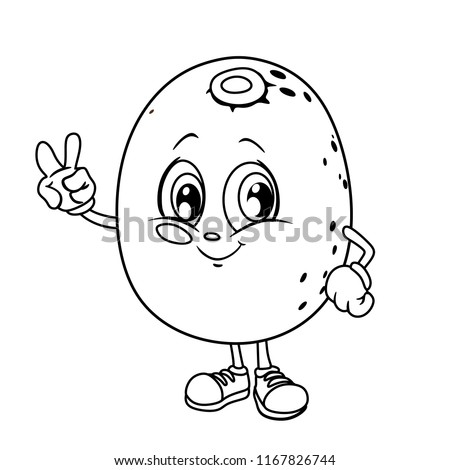Black And White Cartoon Illustration Of A Kiwi Fruit Cute Coloring Page Vector Mascot Character
