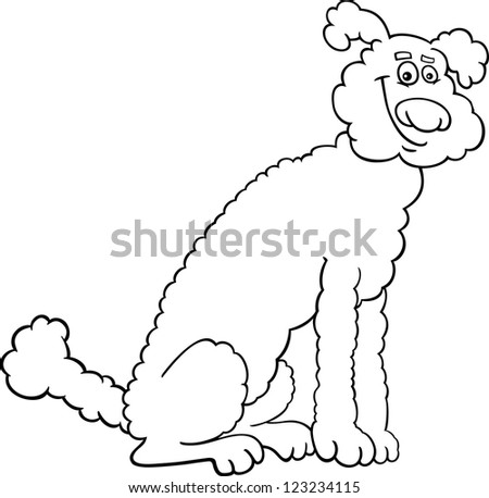 Cute poodle coloring pages ~ Black And White Cartoon Illustration Of Cute Poodle Dog ...