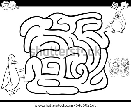 Black and white cartoon illustration of education maze or labyrinth activity game for children with mother coloring page of emperor