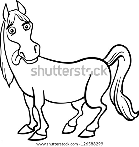 Black And White Cartoon Illustration Of Funny Horse Farm Animal For