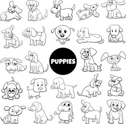 Black and White Cartoon Illustration of Puppy Dog Comic Animal Characters Big Set