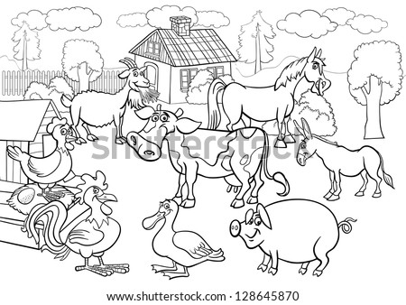 Black And White Cartoon Illustration Of Rural Scene With Farm Animals Livestock Big Group For Coloring