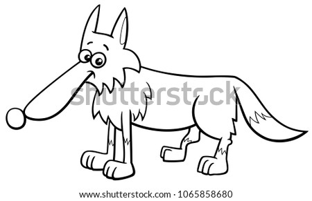 Black And White Cartoon Illustration Of Wolf Wild Animal Character Coloring Book
