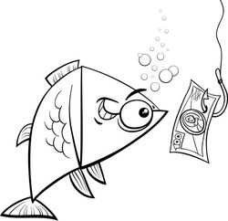 Black and White Cartoon Vector Concept Humor Illustration of Funny Fish and Fishing Hook with Money Bait