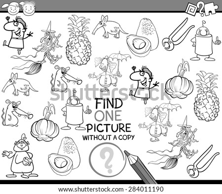 Black and White Cartoon Vector Illustration of Finding Single Picture without Copy Educational Game for Preschool Children #284011190