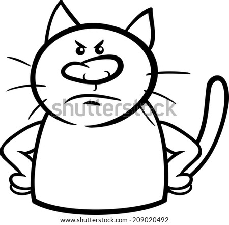 Black and White Cartoon Vector Illustration of Funny Cat Expressing Angry Mood or Emotion for Coloring Book