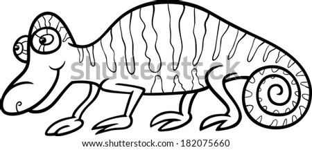 Black and White Cartoon Vector Illustration of Funny Chameleon Reptile Animal for Coloring Book