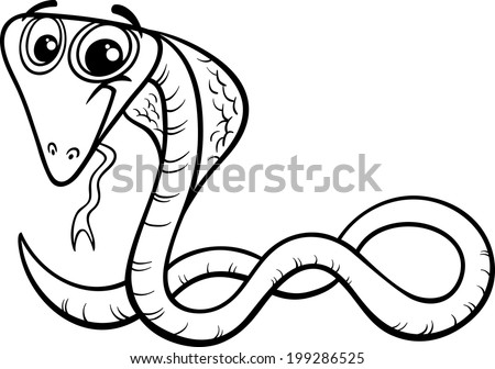 Black and White Cartoon Vector Illustration of Funny Cobra Snake Reptile Animal for Coloring Book