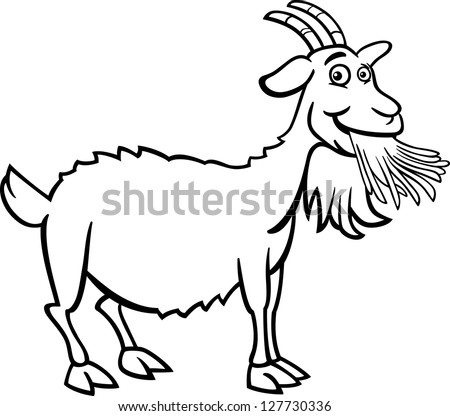 Black and White Cartoon Vector Illustration of Funny Goat Farm Animal for Coloring Book