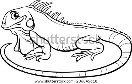 Black and White Cartoon Vector Illustration of Funny Iguana Lizard Reptile Animal Character for Coloring Book