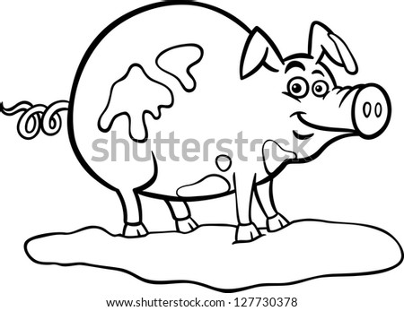 Black and White Cartoon Vector Illustration of Funny Pig Farm Animal in Mud for Coloring Book