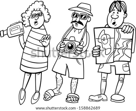 Black and White Cartoon Vector Illustration of Funny Tourist Group on Vacation