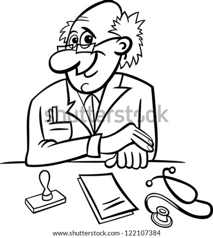Black and White Cartoon Vector Illustration of Male Medical Doctor in Clinic Consulting Room with Stethoscope and Prescriptions