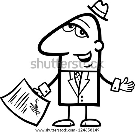 Black and White Cartoon Vector Illustration of Man or Businessman with Signed Agreement or Contract - stock vector