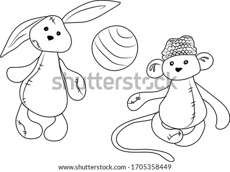 Black and White Cartoon Vector Illustrations . Ball, rabbit and monkey. Hand draw doodle style Foto stock ©