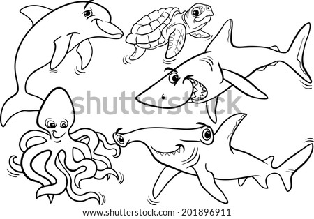 Black And White Cartoon Vector Illustrations Of Funny Sea Life Animals Fish Mascot Characters Group