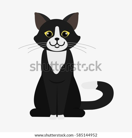 black and white cat cartoon