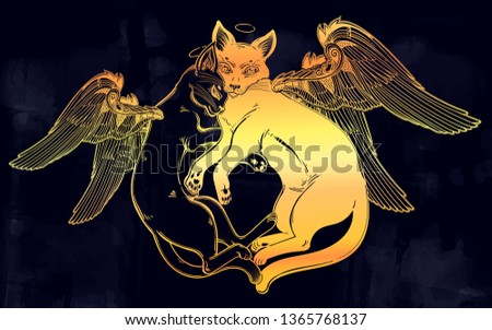 black and white cat with angel