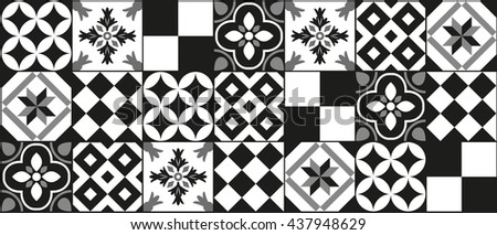 Black and white cement tile background design Photo stock ©