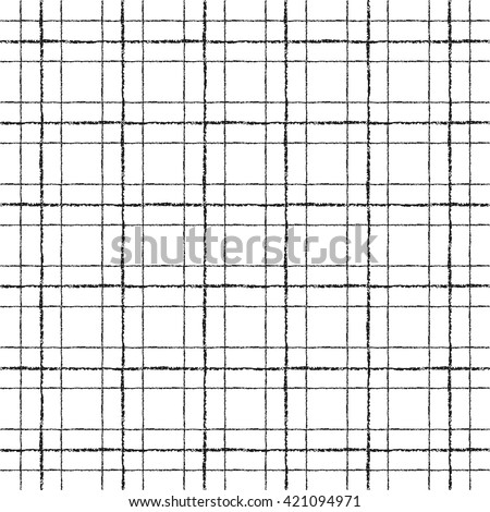 Black and white check, square, plaid vector seamless pattern. Vertical and horizontal brush drawn textured crossing stripes. Chequered geometric background. Black bars of different width.