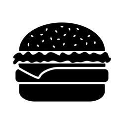 Black and white cheeseburger isolated on white background. Vector illustration