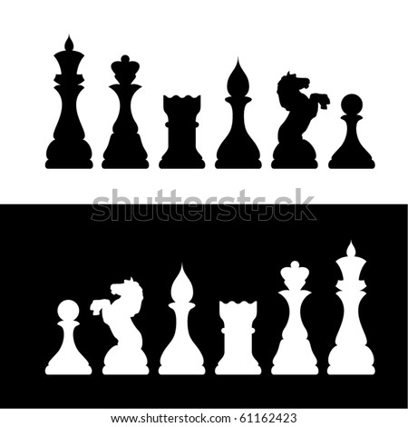 Black And White Chess Figure Silhouettes.