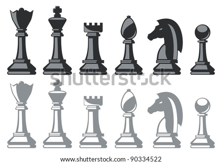 black and white chess pieces isolated on white