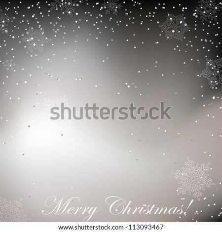 Black and white Christmas background with whirling snow - stock vector