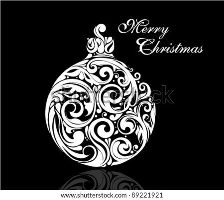 Black and White Christmas ball made by swirling flourishes - vector illustration