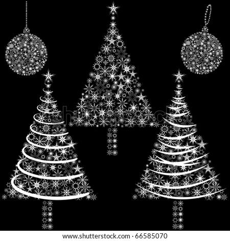 Black and white Christmas tree and globe vector