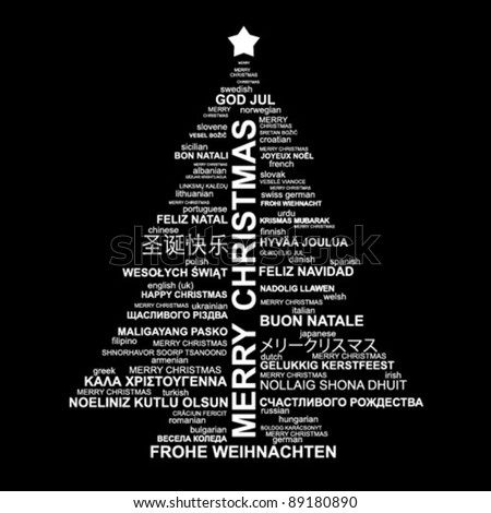 Black and white Christmas type illustration - Merry Christmas in different languages